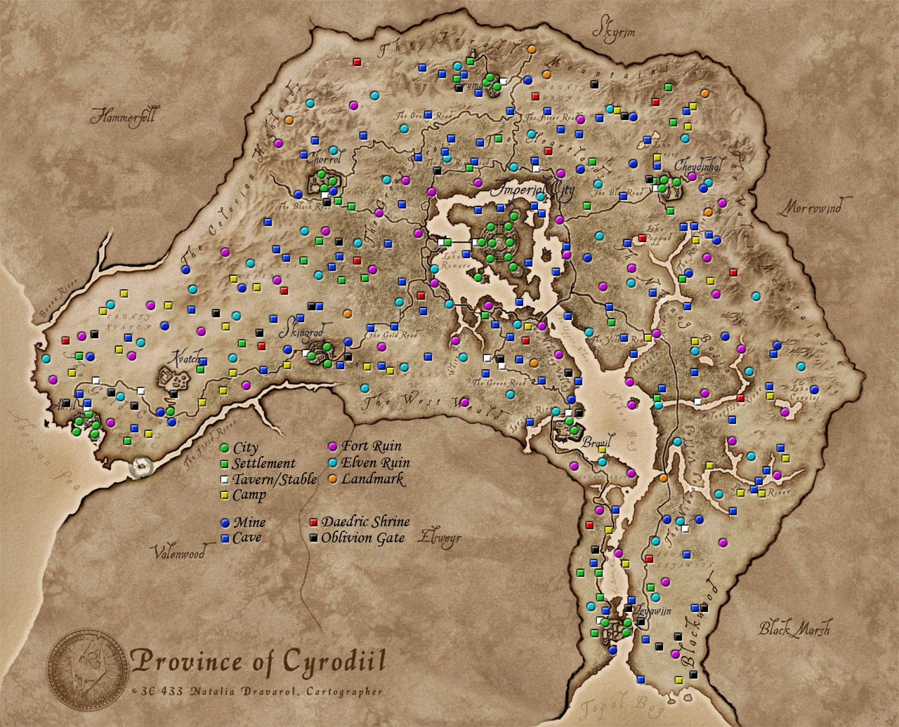 Los mapas más grandes de los videojuegos Cyrodiil